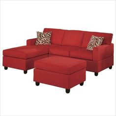 Poundex Bobkona Manhattan Reversible Microfiber 3-Piece Sectional ($533) ❤ liked on Polyvore featuring home, furniture, sofas, couch, red, microfiber sofa, plush sofa, red microfiber couch, three piece sectional and red microfiber sofa