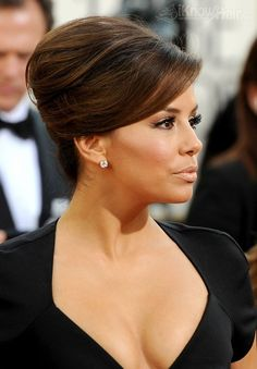 Hollywood glam French twist for a sophisticated wedding hairdo. Eva Longoria at the 68th Annual Golden Globe Awards, hair styled by Ken Paves