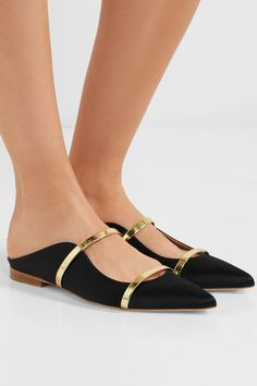 Heel measures approximately 20mm/ 1 inch Black satin, gold leather Slip on Made in ItalySmall to size. See Size & Fit notes.
