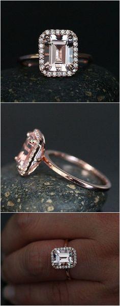 Morganite Emerald Cut Engagement Ring in 14k Rose Gold with Morganite 9x7mm and Diamond Halo / http://www.deerpearlflowers.com/emerald-cut-engagement-rings/