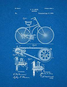 "Bicycle Patent Print Art Poster Blueprint (11"" x 14"")"