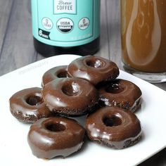 Iced Mocha Protein Donuts - banana, cold brew coffee concentrate, chocolate whey protein powder, cacao powder (might sub cocoa), baking powder, sea salt, icing (chocolate whey protein powder, cold brew coffee concentrate)