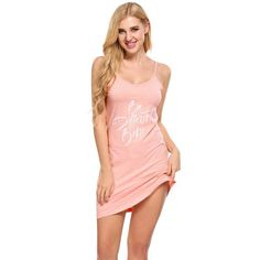 Ekouaer 2017 Letter Print Nightgown Sleep Lounge Dress Sleepwear Sexy V-Neck Dress Slim Hom