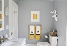 Simply Modern Home - bathrooms - Benjamin Moore - Marina Gray - gray walls, gray wall color, yellow and gray bathroom, yellow art, yellow keep calm and carry on. Yellow Bathroom Accessories, Yellow Bathroom Decor, Kid Bathroom Decor, Yellow Bathrooms, Bathroom Colors, Small Bathroom, Master Bathroom, Bathroom Ideas, Family Bathroom