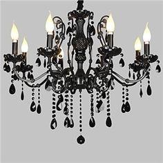 Kristall Kronleuchter 8-flammig Schwarz