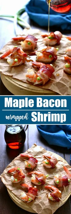 Maple Bacon Wrapped Shrimp is one of my favorite holiday appetizers! It's easy to make, packed with flavor, and sure to pl mi NJ HNease a crowd! Paleo Appetizers, Shrimp Appetizers, Shrimp Dishes, Finger Food Appetizers, Holiday Appetizers, Appetizer Recipes, Holiday Recipes, Crowd Appetizers, Bacon Recipes