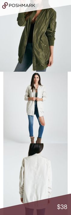 Olive Longline Bomber Jacket Beautiful olive color bomber that looks great with jeans or even a causal dress! Keeps you warm and looks very trendy! Wet Seal Jackets & Coats