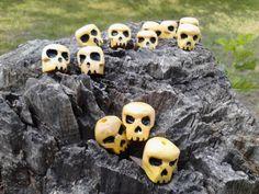 A Dozen Handcarved Wooden Skull Beads  12ct by SpiralHawkStudio, $9.00