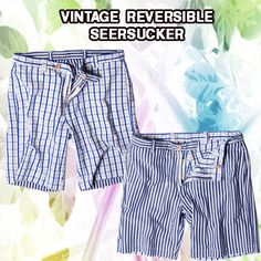 Enzyme Washed Reversible Seersucker Shorts
