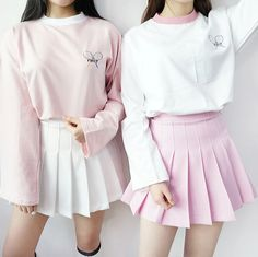 Racket Embroidered Top (BWAL) - It has a contrast round collar, long sleeves, side slits, and an embroidered tennis racket decor. Kawaii Fashion, Cute Fashion, Asian Fashion, Girl Fashion, Fashion Outfits, Matching Outfits Best Friend, Best Friend Outfits, Twin Outfits, Cool Outfits