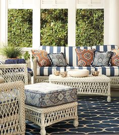 The Hampton Seating Collection has a relaxed, southern attitude, intricately handwoven in weathered ivory resin wicker. | Frontgate: Live Beautifully Outdoors