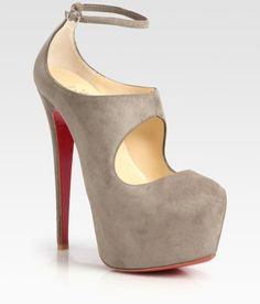 Christian Louboutin ~ Maillot Suede Mary Jane Platform Pumps