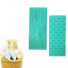 Mikiso 1202 Texture 2-Piece Mold Set Tree Bark and Brick Wall Impression Moulds Gum Paste Impression Mat Fondant Cake Decorating Supplies for Cupcake Wedding Cake Decoration(Blue) ** Wow! I love this. Check it out now! : Baking Tools and Accessories