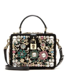 Dolce & Gabbana - Dolce embellished shoulder bag - We can't resist the opulent allure of a Dolce & Gabbana box clutch. This simple structure is coated in a rich black velvet with a caiman trim and embellished with ornate crystals. Style with the detachable shoulder strap for hands-free glamour. seen @ www.mytheresa.com