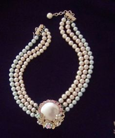 Vintage Pearl Bridal Choker Necklace 3 Strand by CrimsonVintique