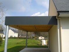 Carport avec poteau acier galvanisé acrotère en panneau composite et toiture membrane PVC Scrignac