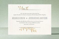 """""""Boxwood Sprigs"""" - Elegant, Elegant Letterpress Wedding Invitations in Faux Gold by Oscar & Emma."""