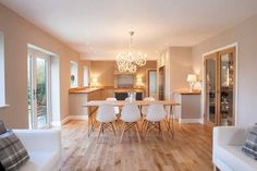 Wooden Chair Legs Shown in Kitchen.  Wooden legs bring the room together