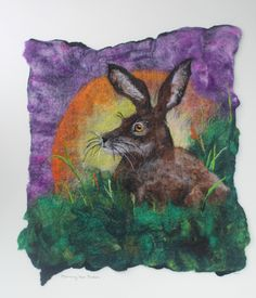 Morning Has Broken, original & unique felted picture of a hare at sunrise…