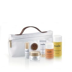 An introductory set from the CALMING SENSITIVE range for sensitive skin, including BABOR's unique bi-phase, deep-pore cleanser and complementary Phytoactive. A selection of trial-size products in a practical bag.