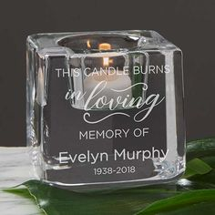 """Buy Kosta Boda Grey Votive Personalized Memorial Candle Holder you can customize with your own text. Add any name and memorial dates below our """"In Memory of"""" design custom engraved on the grey votive candle holder. Unique Candles, Custom Candles, Hurricane Candle Holders, Votive Candles, Beeswax Candles, Memorial Gifts, Memorial Candles, Memorial Ideas, Memorial Ornaments"""