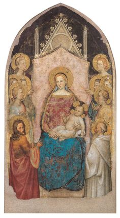 Madonna and Child Enthroned, Angels, Sts John the Baptist and Benedict, ca. 1356  Giotto di Maestro Stefano, called Giottino (Italian, active ca. 1368) - Fresco