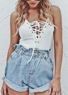 Ruffled Waist Shorts made from denim fabric with elastic waist. ONLY $ NOW! Just go for it&enjoy it!