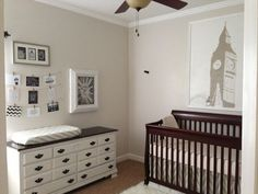 Dark crib with lighter dresser