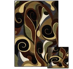 $299.99 3/23/2012 Only. Momeni 8' x 10' Whimsy Pattern Black, Brown and Red Multi Rug - 100% New Zealand Wool