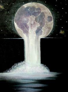 Melting moon, acrylic galaxy waterfall.