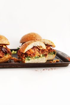 AMAZING BBQ Jackfruit Sandwiches with Avocado Slaw and Roasted Cashews! Big flavor in 30 minutes! #vegan #glutenfree #healthy