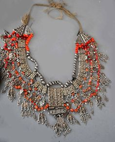 Yemeni Coral and Gilt Silver Necklace
