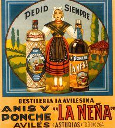 Antiguo anuncio de anís y ponche LA NEÑA, de Avilés, elaborados por la destilería LA AVILESINA
