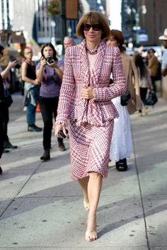 Hot Shots: The Best Street Style at NYFW: It was all about the beanie and that Proenza bag in this mix.  : The editrix in chief showed off her signature look — and, is that a smile, Anna?