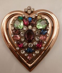 VINTAGE-COROCRAFT-STERLING-RHINESTONE-HEART-BROOCH-PIN-ROSE-GOLD-WASH