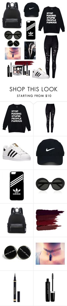"""⚜Dark Night⚜"" by pandagirllover ❤ liked on Polyvore featuring WithChic, adidas, Nike Golf, Linda Farrow, Serge Lutens, Yves Saint Laurent, Chanel and Marc Jacobs"