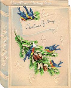 Very Merry Vintage Syle: Vintage Christmas Cards {Bluebirds}