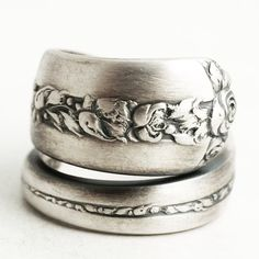 Silver Rose Ring, Floral Spoon Ring, Sterling Silver Spoon Ring, Floral Wedding Ring, Rambler Rose, Handmade Jewelry, Adjustable Ring (6411)