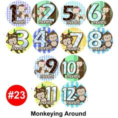MONKEY AROUND Baby Month Onesie Stickers Baby Shower Gift Photo Shower Stickers, baby shower gift by OnesieStickers. Monekeying Around Onesie stickers are great baby shower gift!. Adhesive sticker is super thin, and waterproof. Flexible and tear proof allowing it to bend with the babies movement. Baby month stickers are used placed on the baby's shirt, as a photo prop for pictures. Extra durable adhesive is completely removable.
