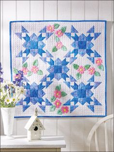 Traditionally set blocks and needle-turn applique are highlighted in this gem of a quilt. This e-pattern was originally published in the June 2010 issue of Quilter's World magazine. Size: x Block Size: x Skill Level: Intermediate Mini Quilts, Star Quilts, Quilt Blocks, Quilt Baby, Quilting Projects, Quilting Designs, Star Quilt Patterns, Miniature Quilts, Quilted Wall Hangings
