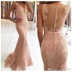 9ecaa20c56c Vendedor caliente vestidos de noche de encaje 2018 v cuello apliques con  cuentas vestido de fiesta ilusión sexy espalda vestido formal Vestidos de  fiesta