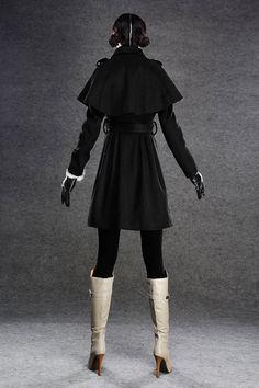 Black cape coats wool blend jacket C136 by YL1dress on Etsy
