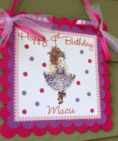 Instead of Wreath on other picture.-Fancy Nancy Happy Birthday Door Sign in Hot Pink and Purple. $12.00, via Etsy.