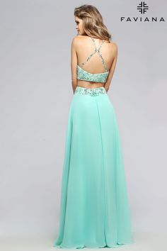Chiffon two-piece with beaded top and waistband #Faviana Style S7733