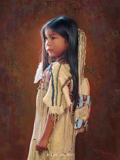 """Little Dove"" 16"" X 12"" Oil on Linen -Karen Noles Karen Noles - Available new original painings - New Western and Native American Fine Art by Karen NolesCall (406) 883-2920 for information and pricing."