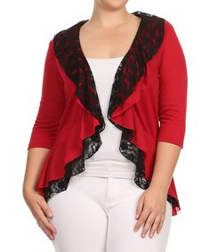 $18.99 / Red Lace Ruffle Open Cardigan - Plus