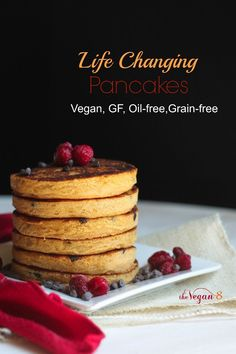 Life Changing Pancakes. These are the BEST FLUFFIEST Vegan, Gluten-free, Oil-free, Grain-free....heck, pancakes I've ever had. NO MORE dense, mushy, goopy vegan GF pancakes! All just 8 ingredients by THEVEGAN8.COM #vegan #pancakes #breakfast #glutenfree #oilfree #thevegan8