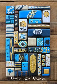Cookie Collage in blues and gold by Yankee Girl Yummies posted at Julia Usher's | Cookie Connection