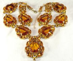 Awesome Lilien Czech Sunset Topaz Rhinestone Necklace Dangle Earring Set | eBay