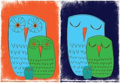 """Sweet Owl Family Nursery Prints """"We 3 Owls Good Morning & Goodnight"""" 2 art print set by strawberryluna. Our original prints come in 3 easy to frame and convenient sizes. Available in our shop now!"""